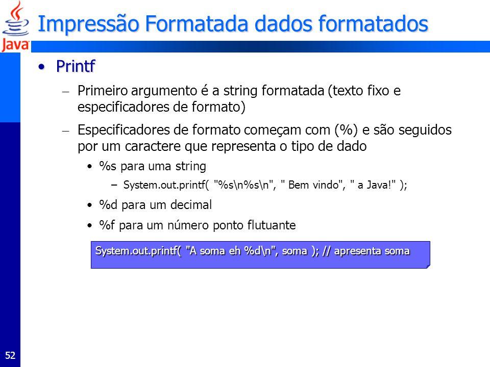Impressão Formatada dados formatados