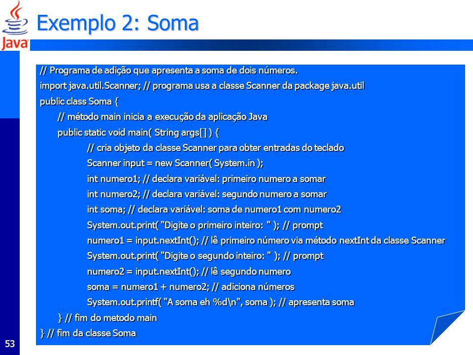 Exemplo 2: Soma // Programa de adição que apresenta a soma de dois números.