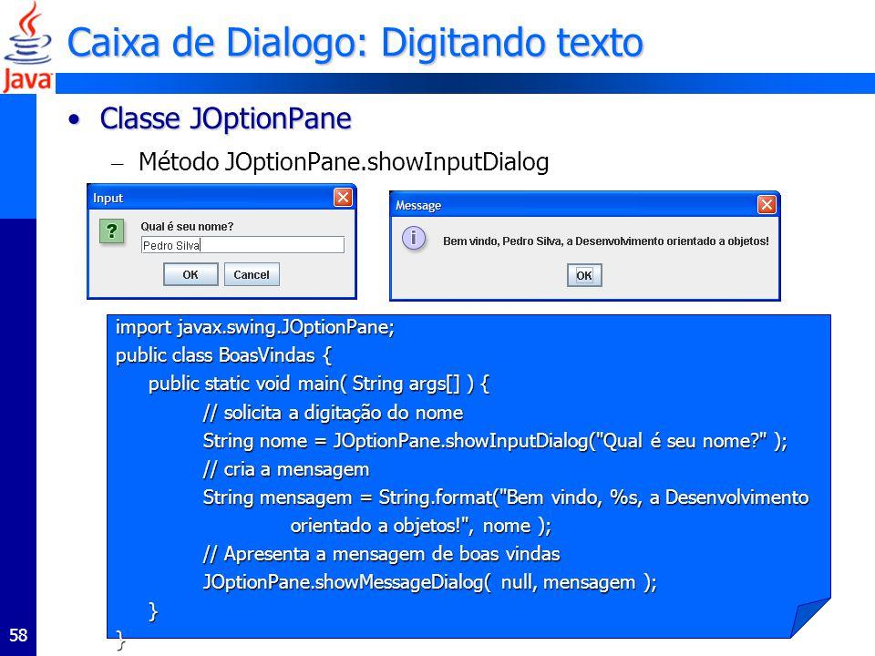 Caixa de Dialogo: Digitando texto