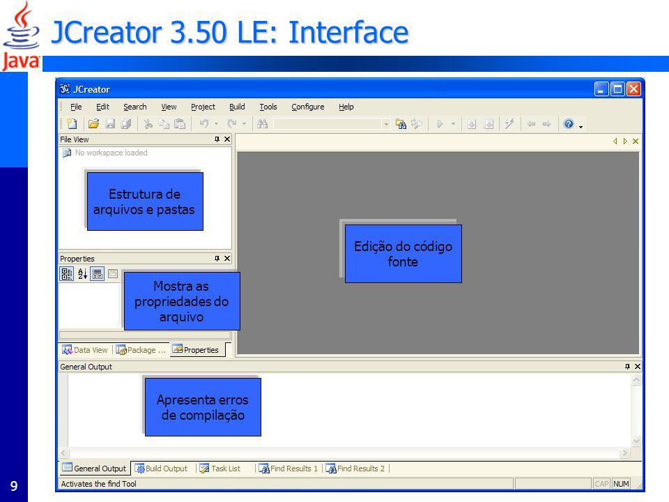 JCreator 3.50 LE: Interface