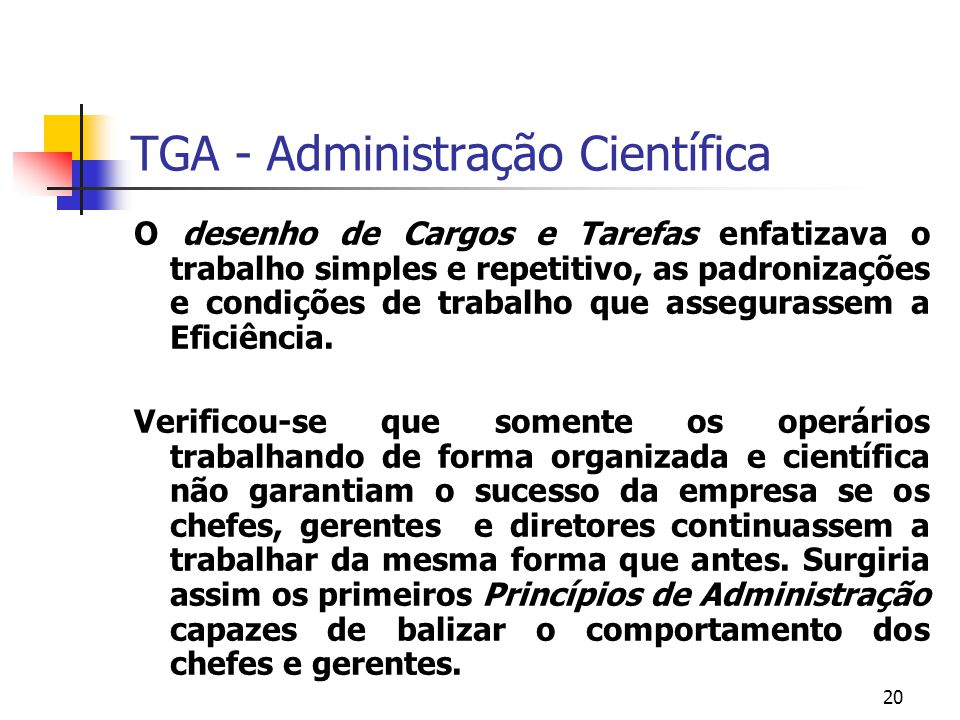 TGA - Administração Científica