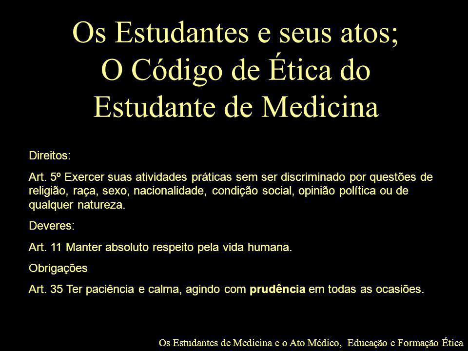 Os Estudantes e seus atos; O Código de Ética do Estudante de Medicina