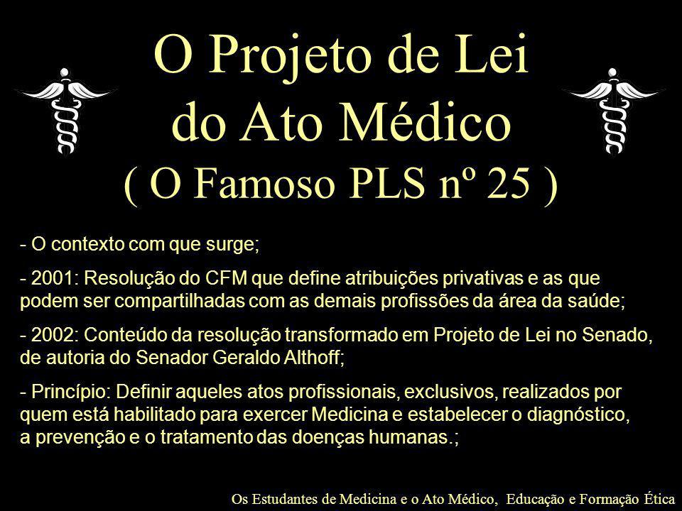 O Projeto de Lei do Ato Médico ( O Famoso PLS nº 25 )