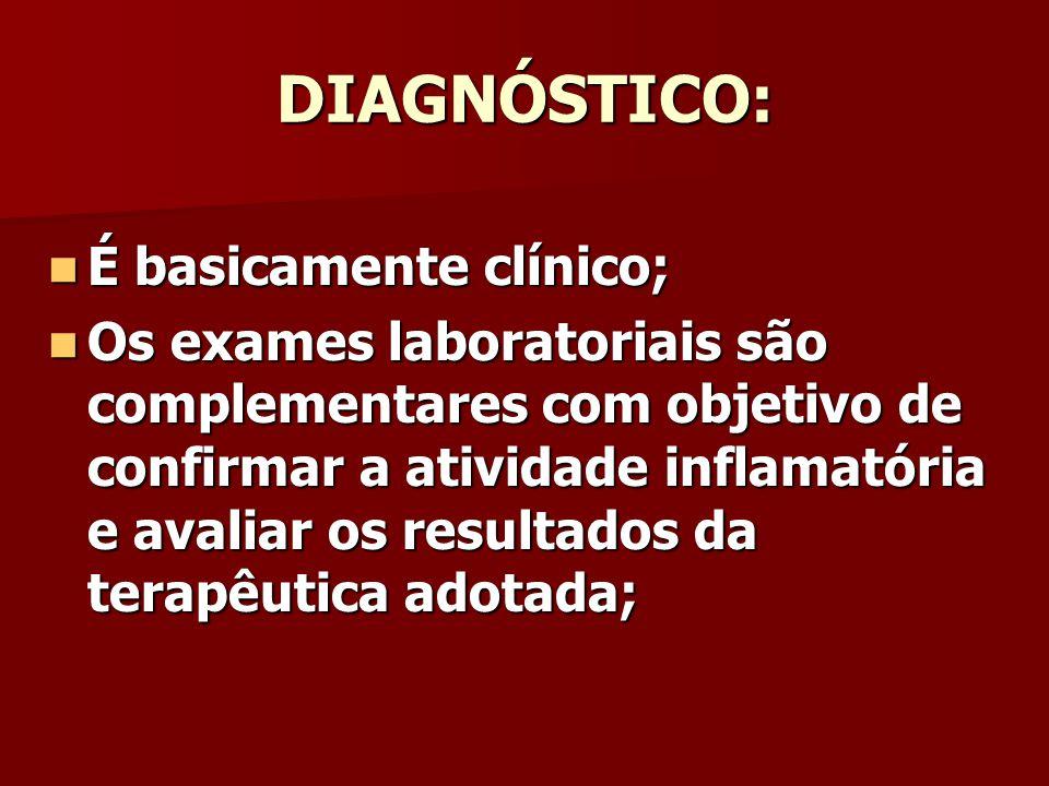 DIAGNÓSTICO: É basicamente clínico;