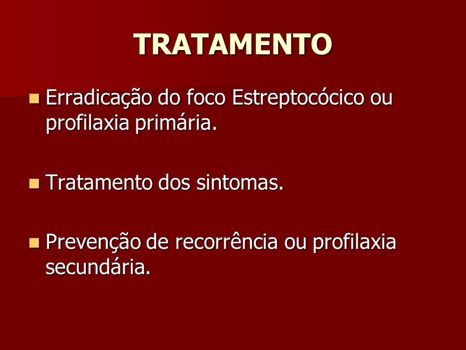 TRATAMENTO Erradicação do foco Estreptocócico ou profilaxia primária.
