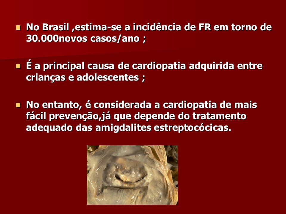 No Brasil ,estima-se a incidência de FR em torno de 30