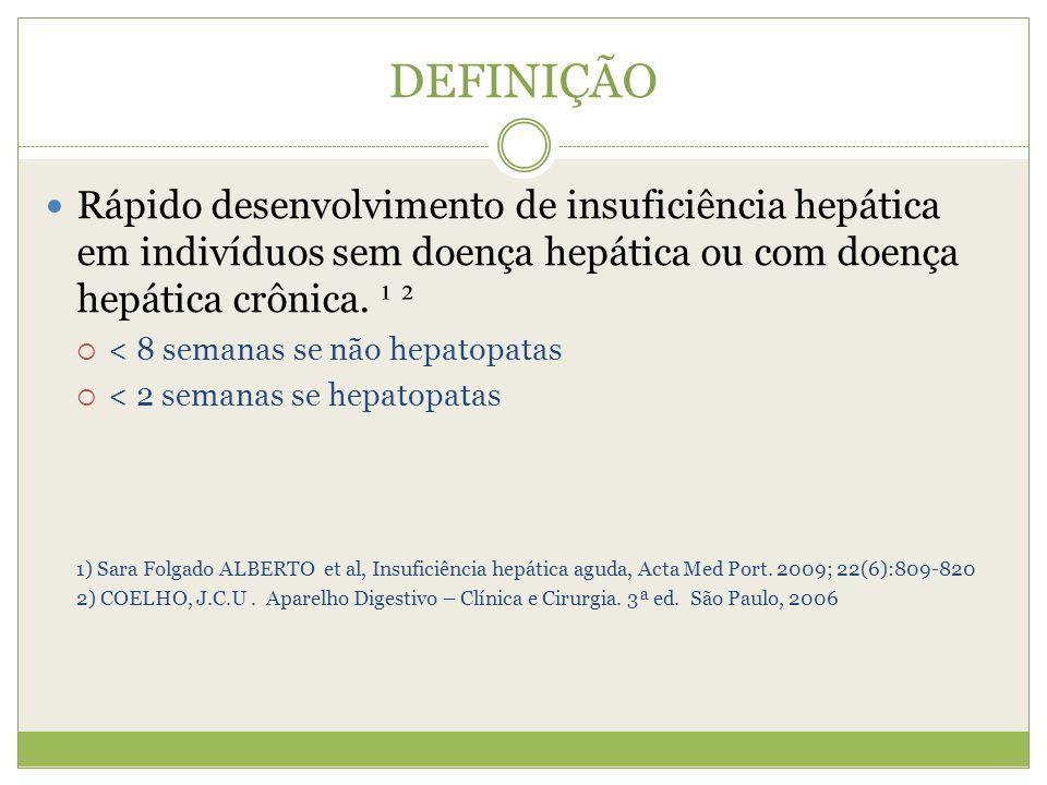DEFINIÇÃO Rápido desenvolvimento de insuficiência hepática em indivíduos sem doença hepática ou com doença hepática crônica. ¹ ².