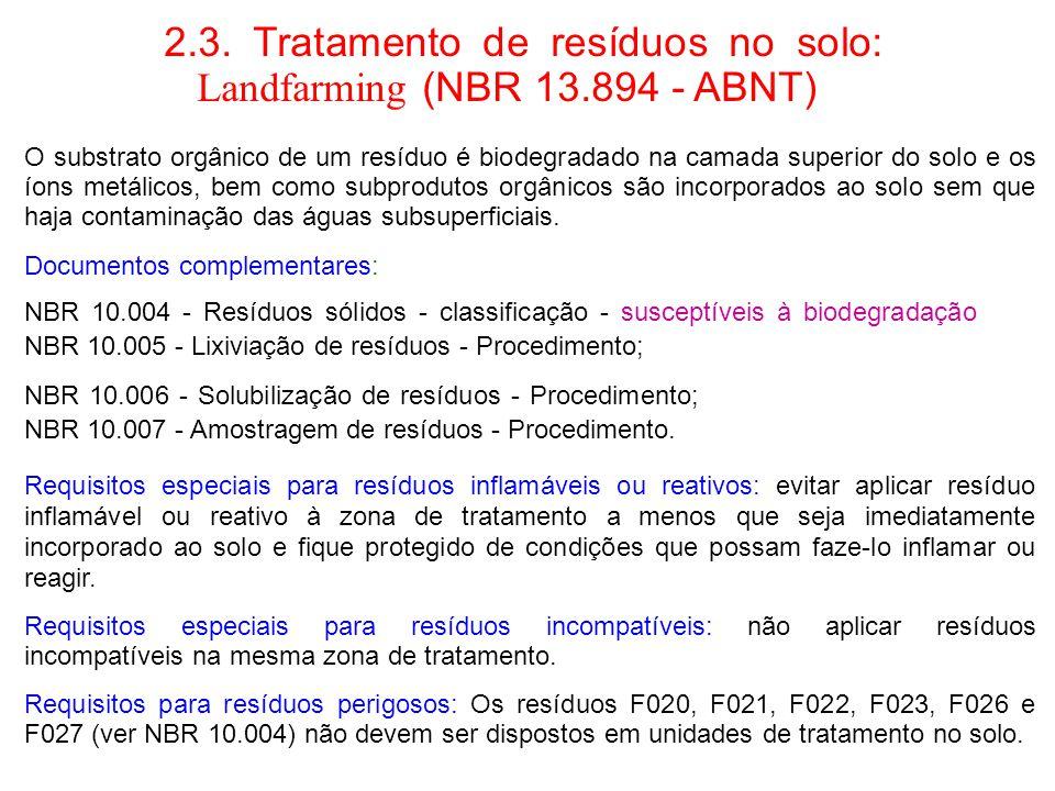 2.3. Tratamento de resíduos no solo: Landfarming (NBR 13.894 - ABNT)