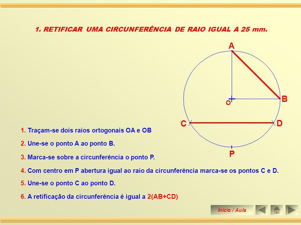 1. RETIFICAR UMA CIRCUNFERÊNCIA DE RAIO IGUAL A 25 mm.