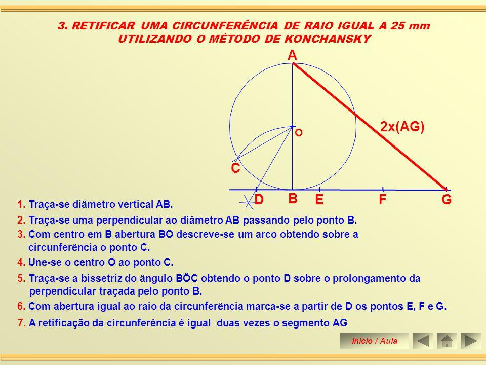 3. RETIFICAR UMA CIRCUNFERÊNCIA DE RAIO IGUAL A 25 mm