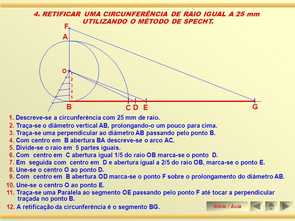 F B A C G D E 4. RETIFICAR UMA CIRCUNFERÊNCIA DE RAIO IGUAL A 25 mm