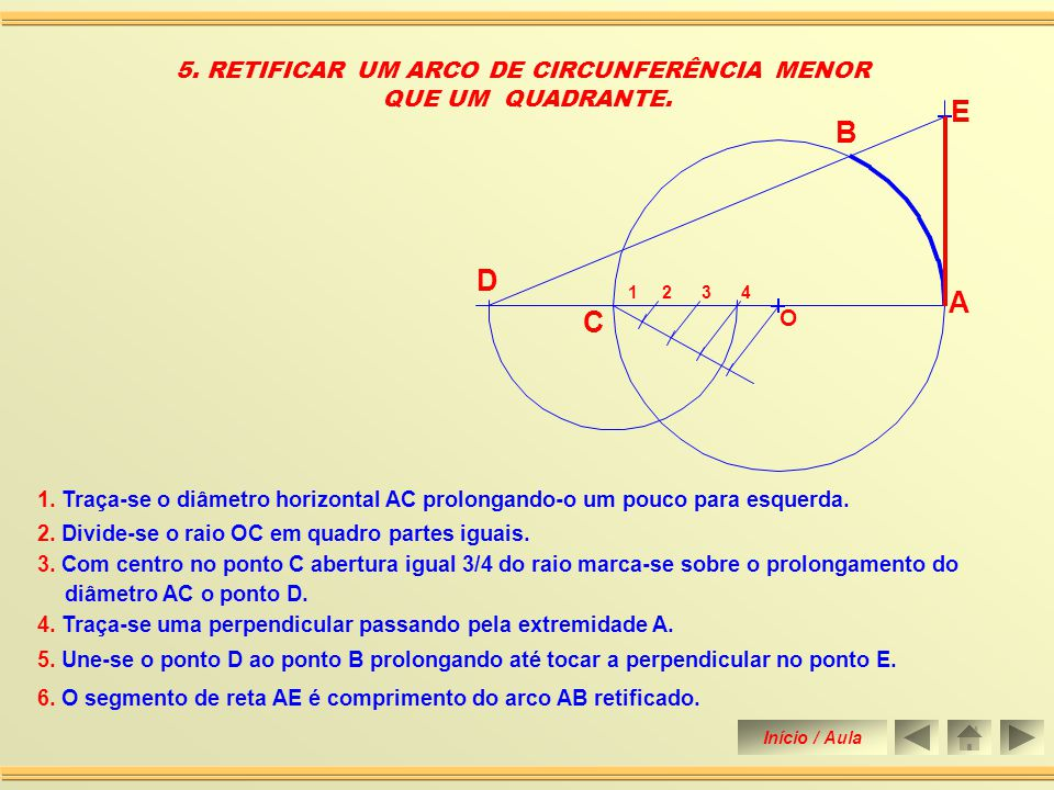 5. RETIFICAR UM ARCO DE CIRCUNFERÊNCIA MENOR