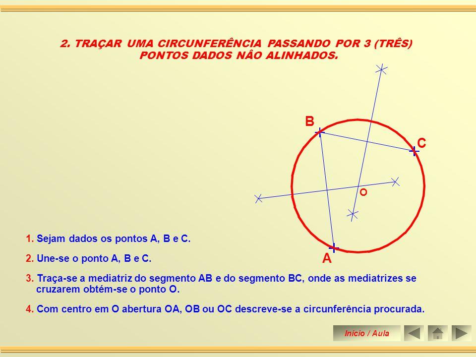 B C A 2. TRAÇAR UMA CIRCUNFERÊNCIA PASSANDO POR 3 (TRÊS)