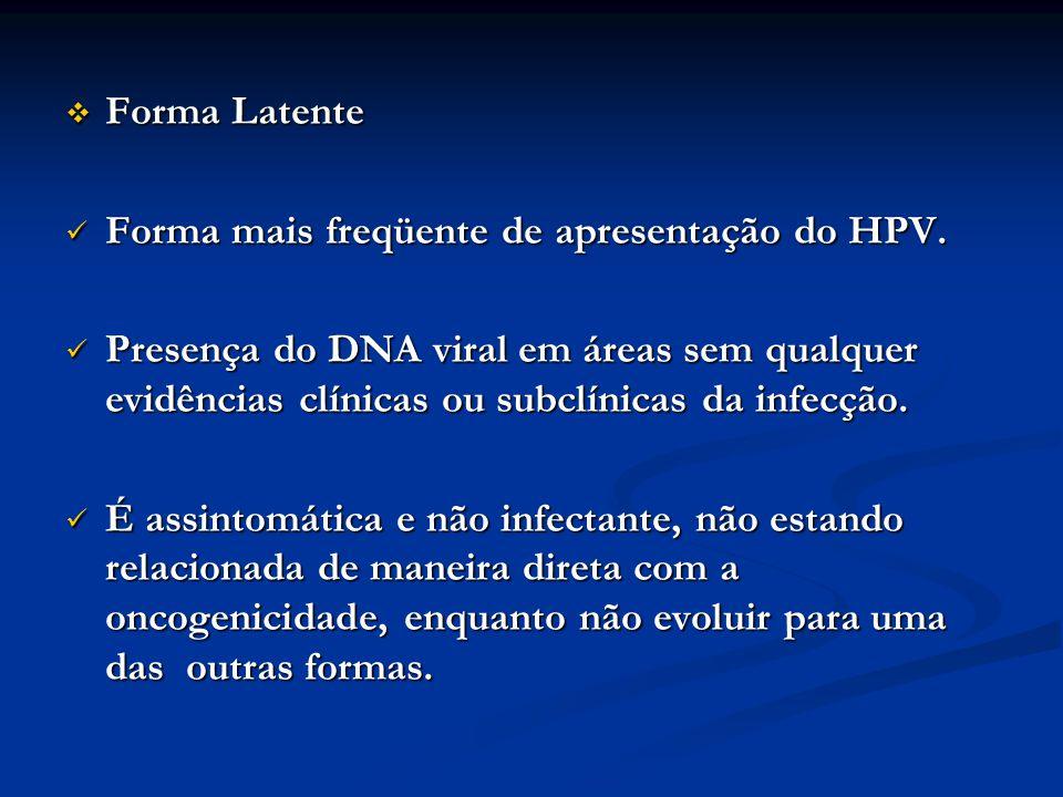 Forma Latente Forma mais freqüente de apresentação do HPV.