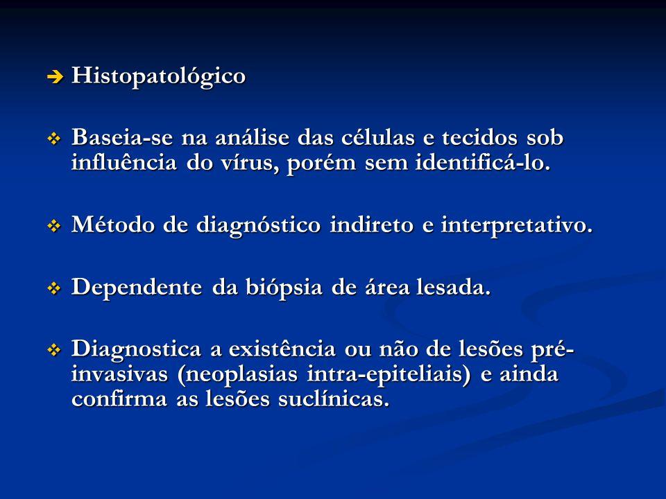 Histopatológico Baseia-se na análise das células e tecidos sob influência do vírus, porém sem identificá-lo.