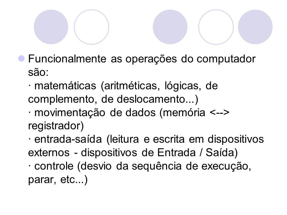Funcionalmente as operações do computador são: · matemáticas (aritméticas, lógicas, de complemento, de deslocamento...) · movimentação de dados (memória <--> registrador) · entrada-saída (leitura e escrita em dispositivos externos - dispositivos de Entrada / Saída) · controle (desvio da sequência de execução, parar, etc...)