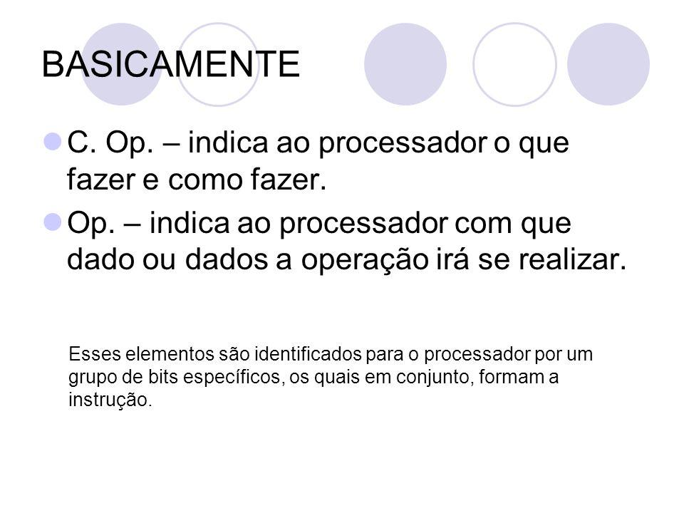 BASICAMENTE C. Op. – indica ao processador o que fazer e como fazer.