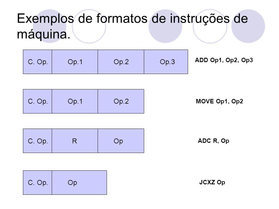 Exemplos de formatos de instruções de máquina.