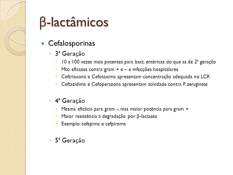 β-lactâmicos Cefalosporinas 3ª Geração 4ª Geração 5ª Geração