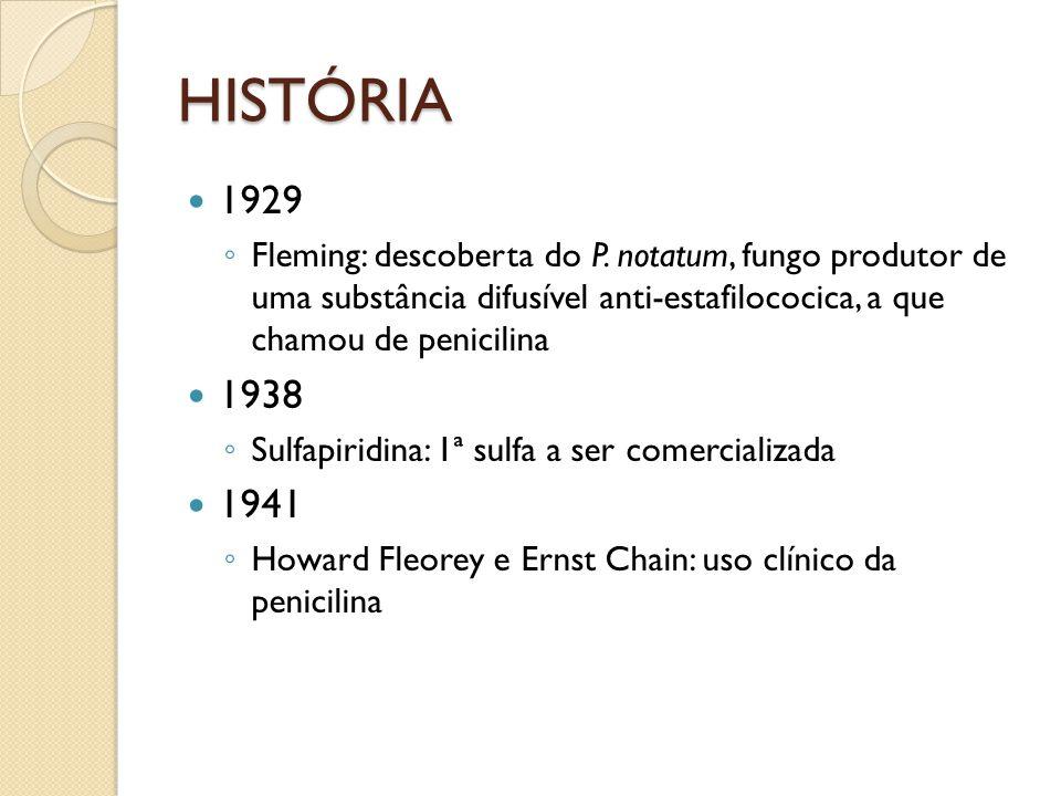 HISTÓRIA 1929. Fleming: descoberta do P. notatum, fungo produtor de uma substância difusível anti-estafilococica, a que chamou de penicilina.