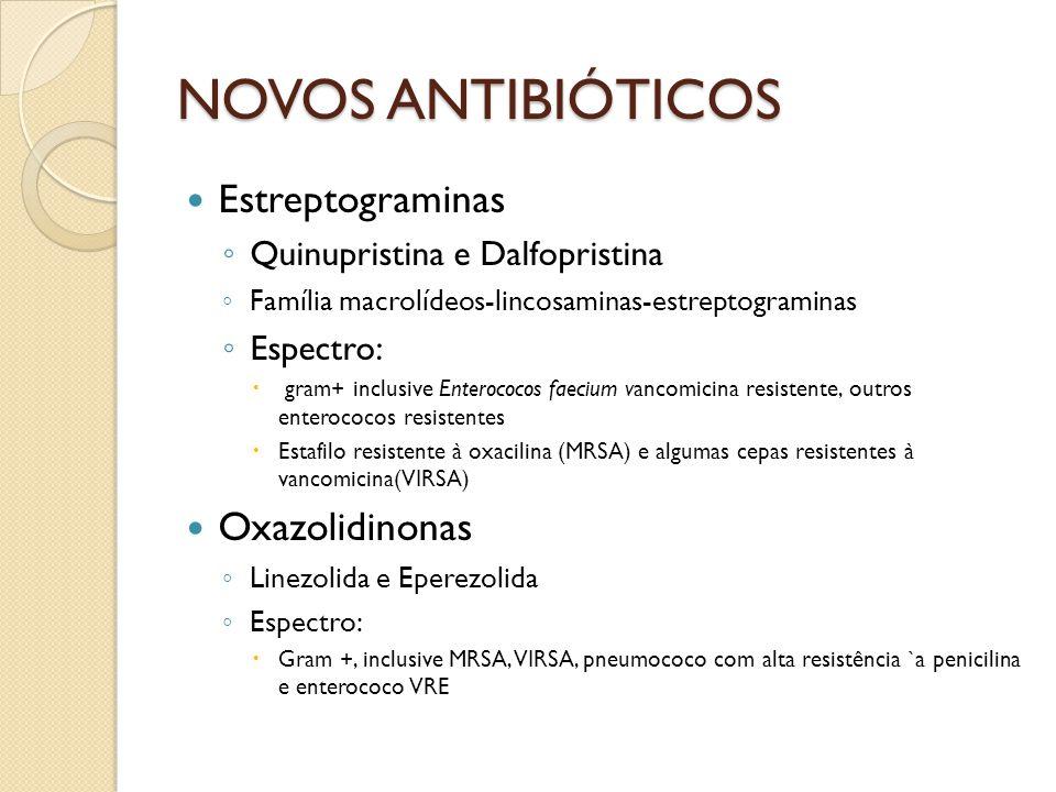 NOVOS ANTIBIÓTICOS Estreptograminas Oxazolidinonas