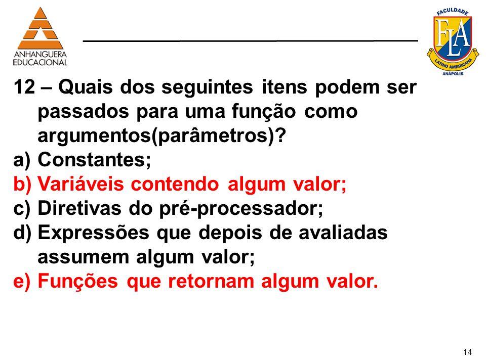 Variáveis contendo algum valor; Diretivas do pré-processador;