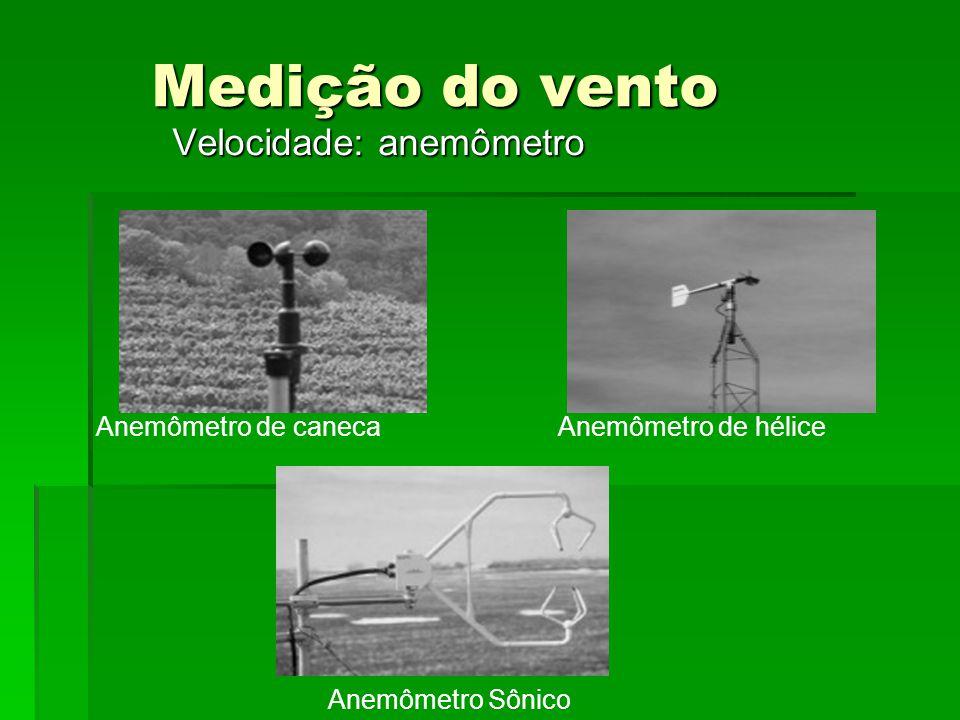 Medição do vento Velocidade: anemômetro Anemômetro de caneca