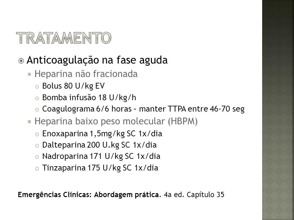 tratamento Anticoagulação na fase aguda Heparina não fracionada