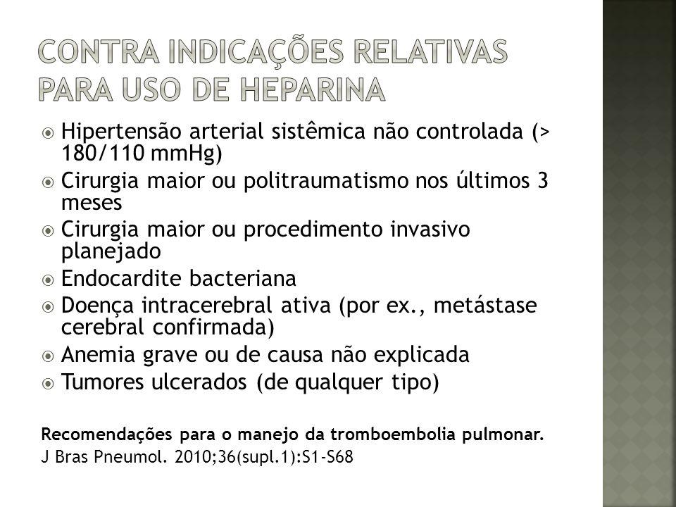 Contra indicações relativas para uso de heparina
