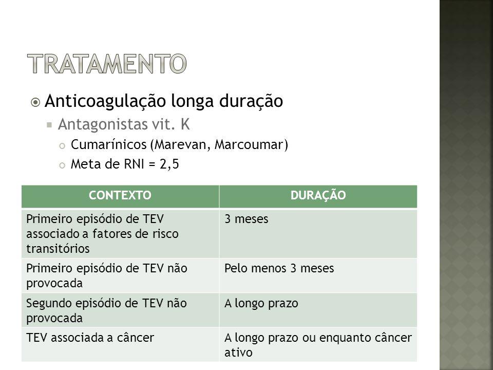 tratamento Anticoagulação longa duração Antagonistas vit. K