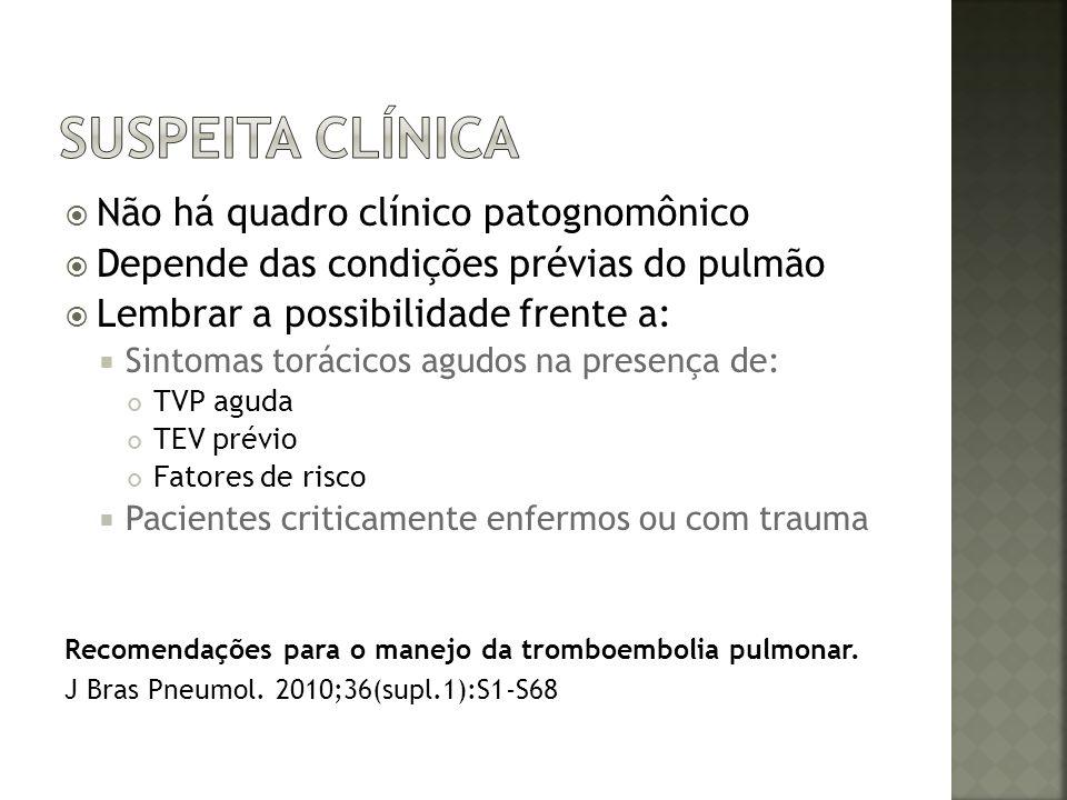 Suspeita clínica Não há quadro clínico patognomônico