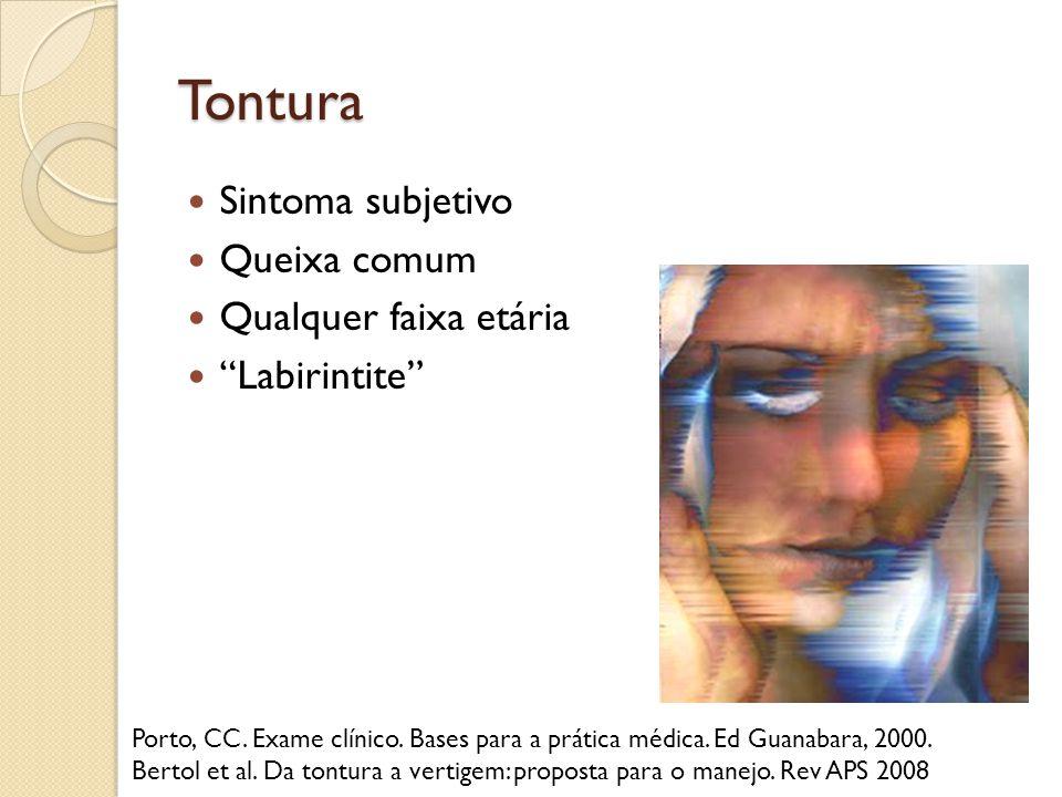 Tontura Sintoma subjetivo Queixa comum Qualquer faixa etária