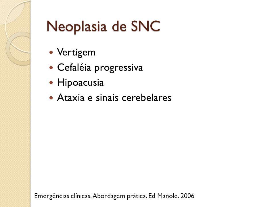 Neoplasia de SNC Vertigem Cefaléia progressiva Hipoacusia