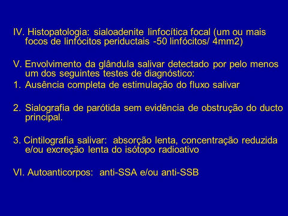 IV. Histopatologia: sialoadenite linfocítica focal (um ou mais focos de linfócitos periductais -50 linfócitos/ 4mm2)