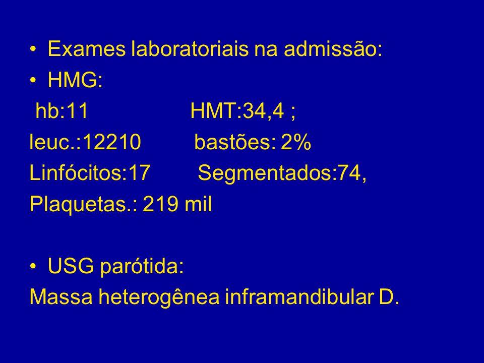 Exames laboratoriais na admissão: