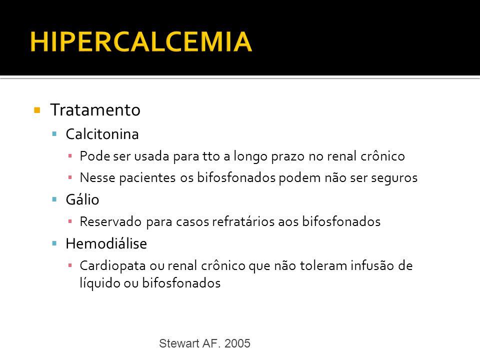 HIPERCALCEMIA Tratamento Calcitonina Gálio Hemodiálise