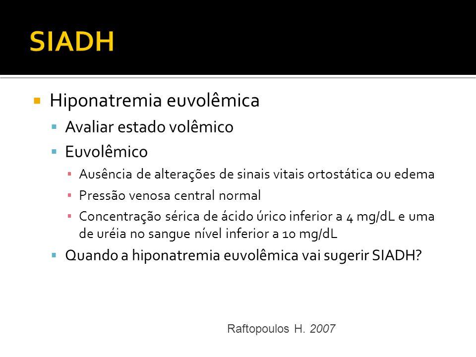 SIADH Hiponatremia euvolêmica Avaliar estado volêmico Euvolêmico