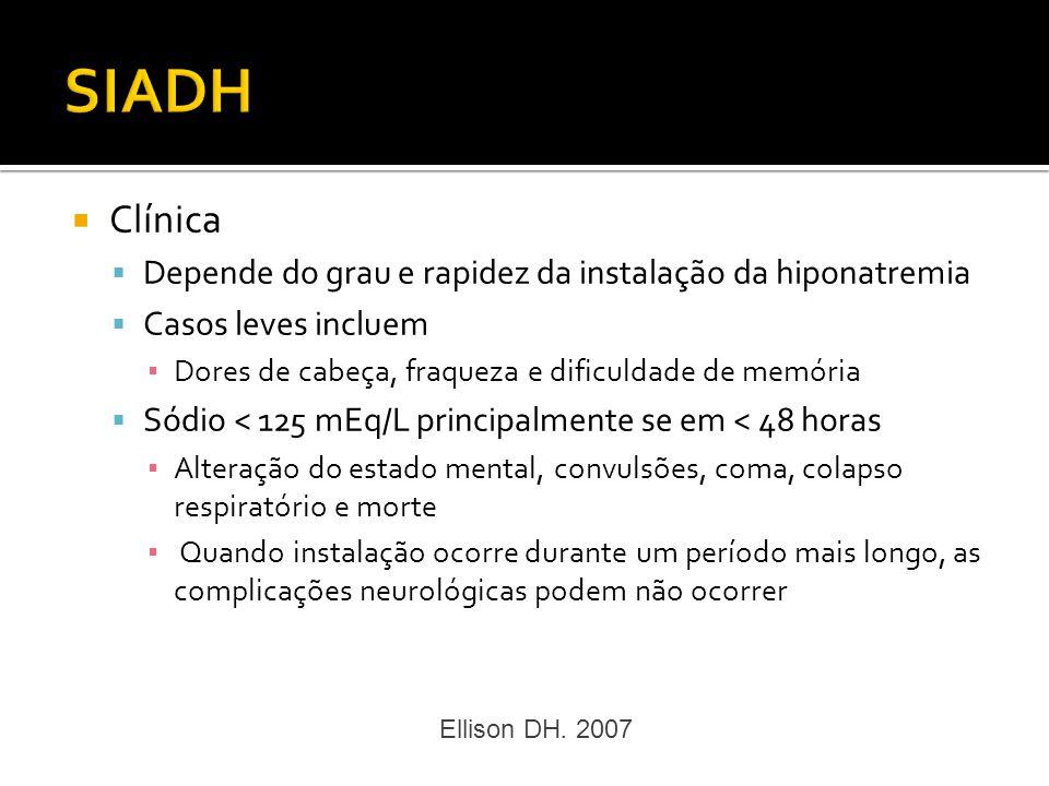 SIADH Clínica Depende do grau e rapidez da instalação da hiponatremia