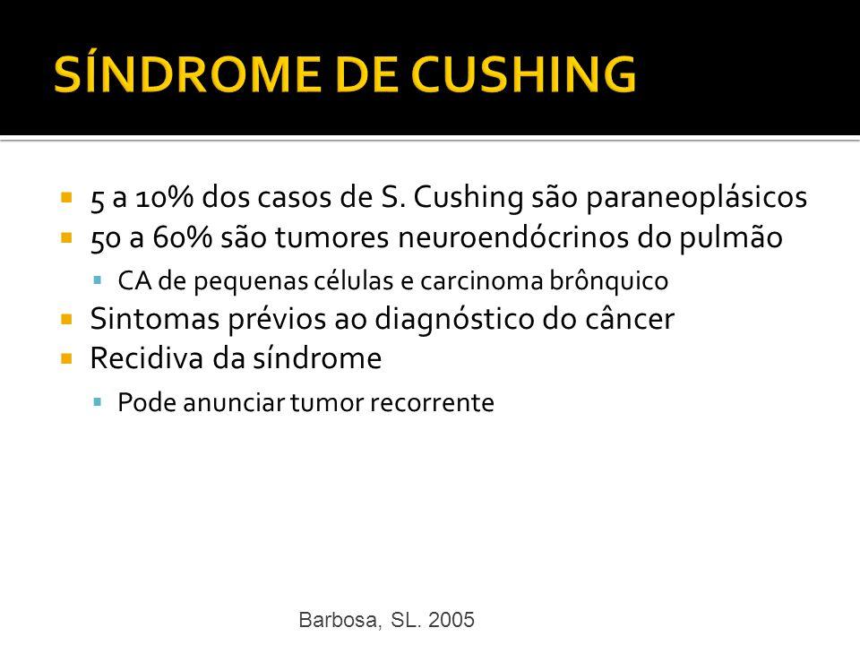SÍNDROME DE CUSHING 5 a 10% dos casos de S. Cushing são paraneoplásicos. 50 a 60% são tumores neuroendócrinos do pulmão.