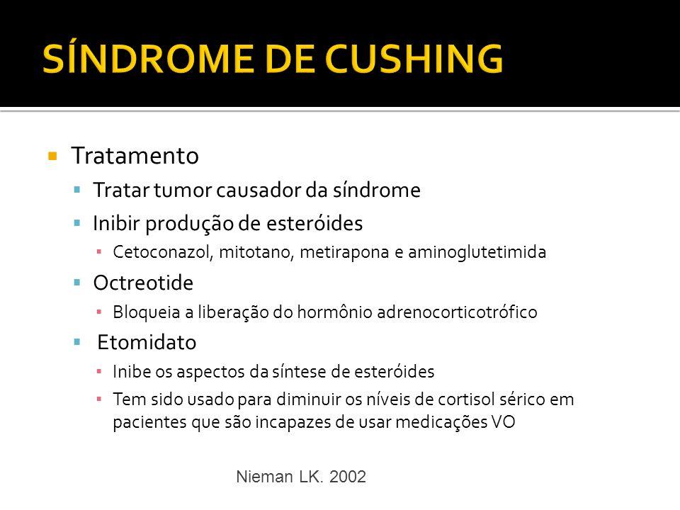 SÍNDROME DE CUSHING Tratamento Tratar tumor causador da síndrome