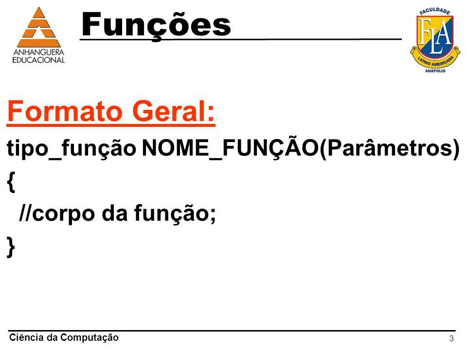 Funções Formato Geral: tipo_função NOME_FUNÇÃO(Parâmetros) {
