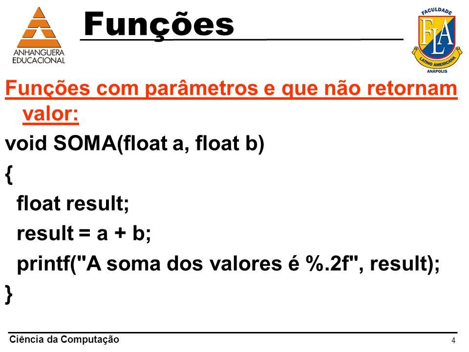 Funções Funções com parâmetros e que não retornam valor: