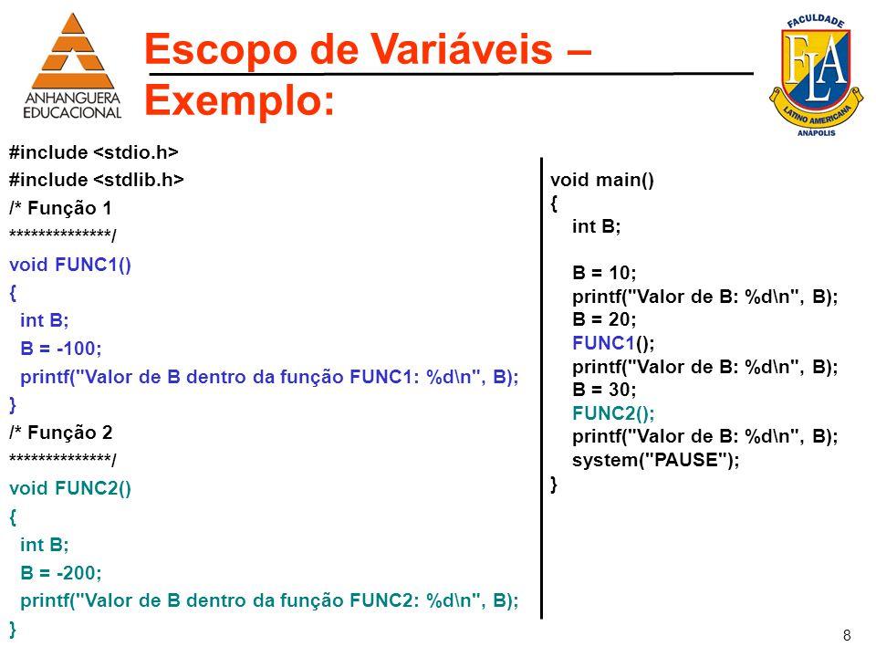 Escopo de Variáveis – Exemplo: