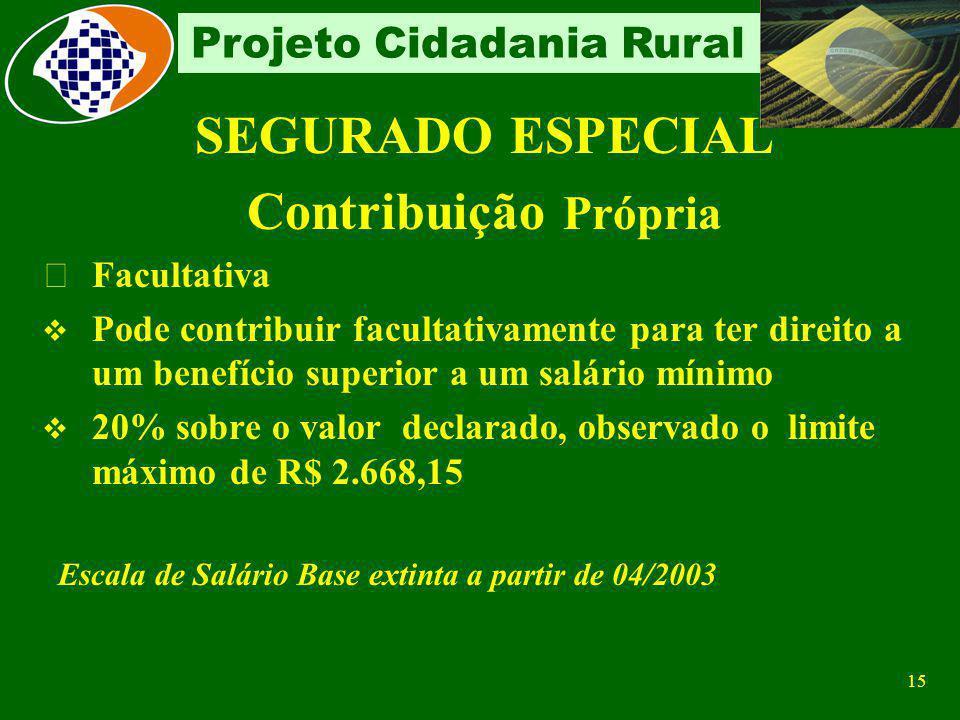 SEGURADO ESPECIAL Contribuição Própria