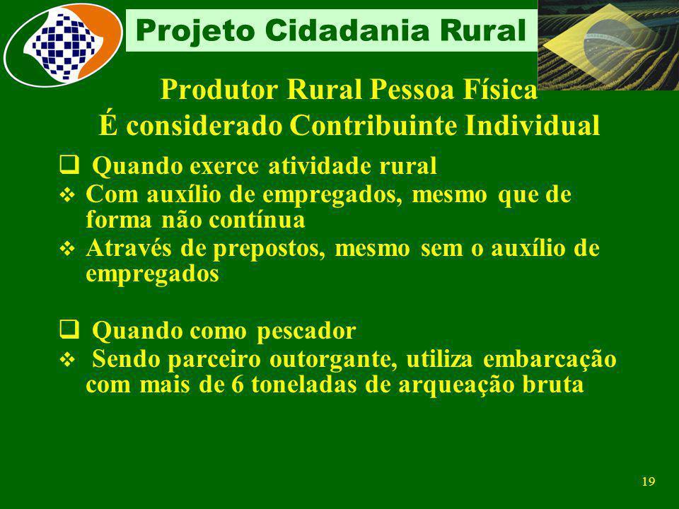 Produtor Rural Pessoa Física É considerado Contribuinte Individual