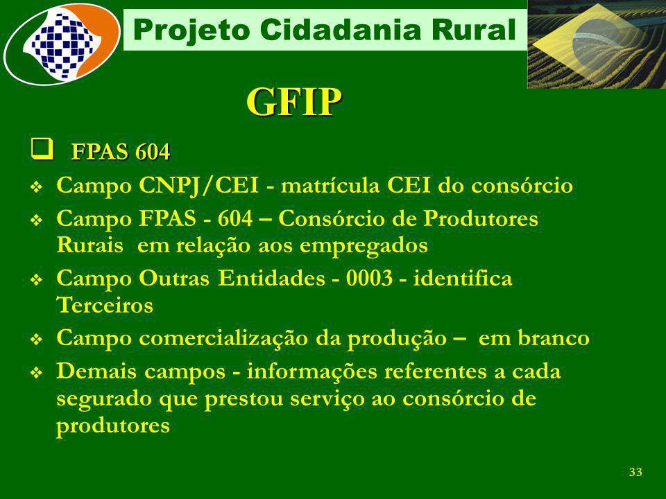 GFIP FPAS 604 Campo CNPJ/CEI - matrícula CEI do consórcio