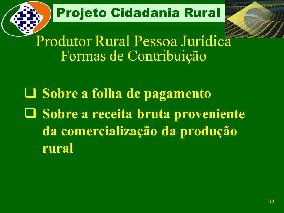Produtor Rural Pessoa Jurídica Formas de Contribuição