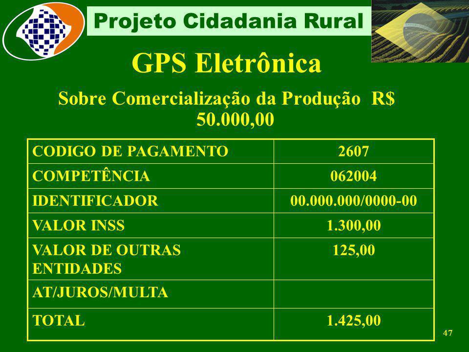 Sobre Comercialização da Produção R$ 50.000,00
