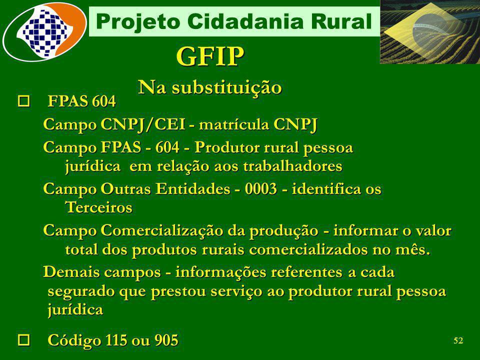 GFIP Na substituição FPAS 604 Campo CNPJ/CEI - matrícula CNPJ