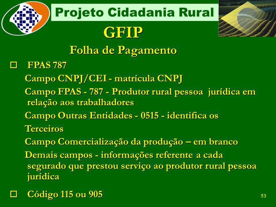 GFIP Folha de Pagamento FPAS 787 Campo CNPJ/CEI - matrícula CNPJ